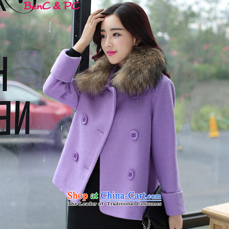 2015 winter coats coats gross? new women's stylish thin short of Sau San graphics with thick hair for long-sleeved purple plus gross collar燲XL