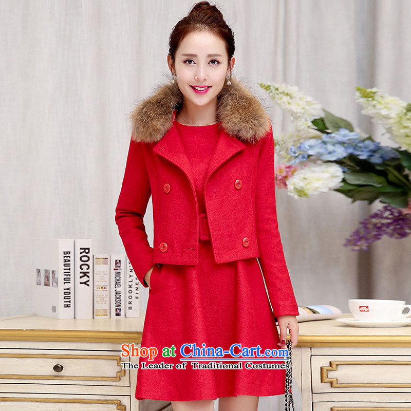 Sin has 2015 winter clothing new Korean citizenry video thin solid color two kits stylish dresses girls   Large Red M