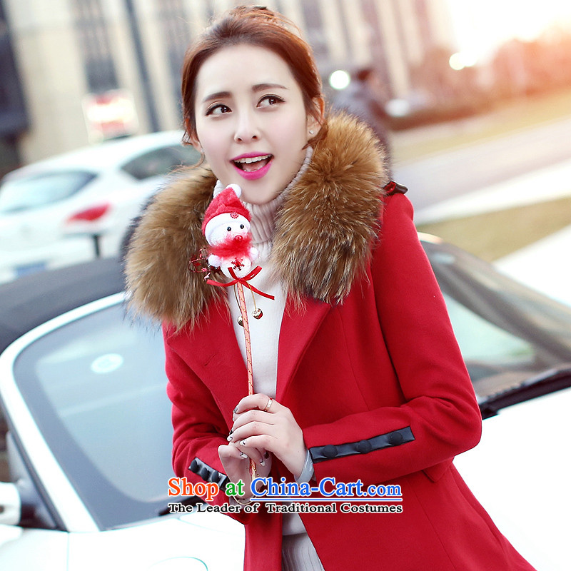Sin has聽2015 winter clothing new Korean citizenry video thin solid color minimalist gross? female red聽S Jacket