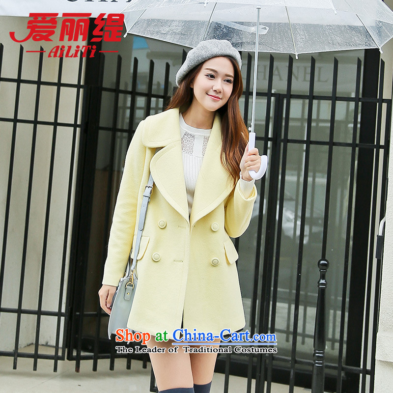 Christy Love 2015 autumn and winter new Korean Sau San double-butted long hair?_? a wool coat 2906 Yellow燣 Projected female issued on 22 November