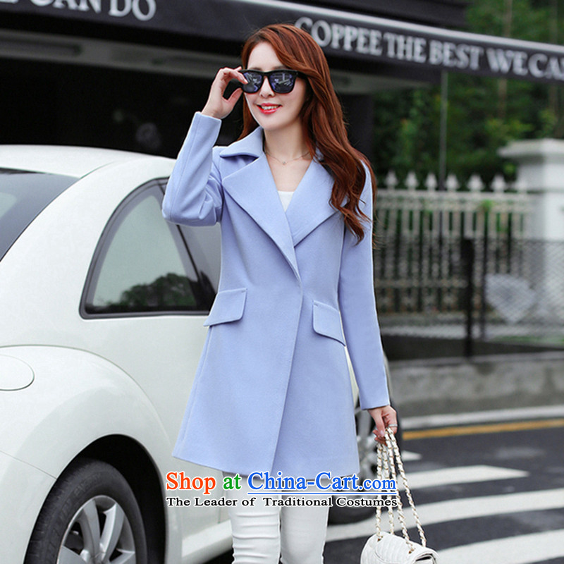 Sin has been?loaded for autumn and winter 2015 Korean temperament and stylish solid color graphics thin hair? jacket minimalist female water Blue?M