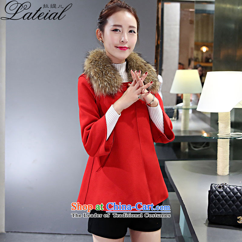 Pull economy- 2015 autumn and winter new women's winter coats female hair_?? Korean jacket for the mantle of Sau San Nagymaros a wool coat 6200 Red L