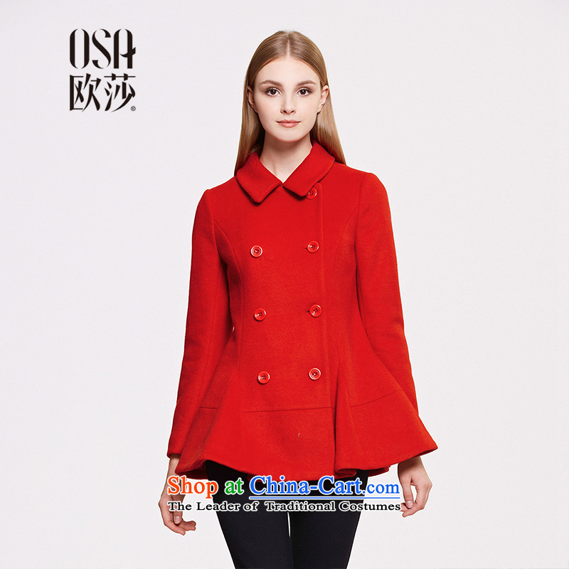 The OSA EURO 2015 Winter New Windsor female stylish double-off under the gross SD557005 jacket? large red燬