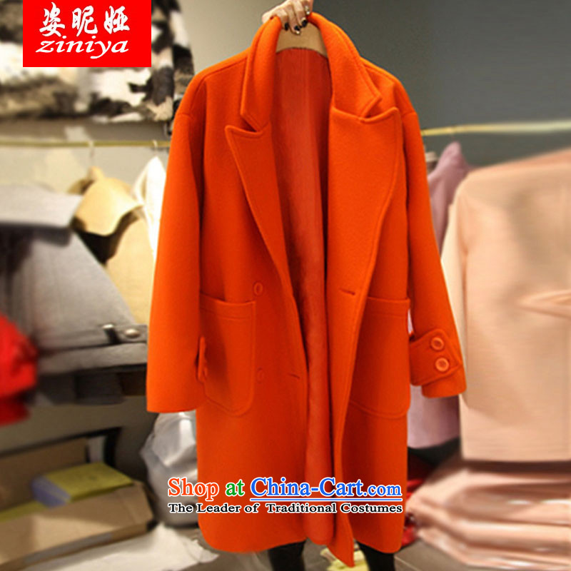 Gigi Lai Young Ah 200 catties mm2015 thick autumn and winter load extra female loose video thin thick hair? Jacket coat sister orange�L爎ecommended weight cost between HKD150-170 catty
