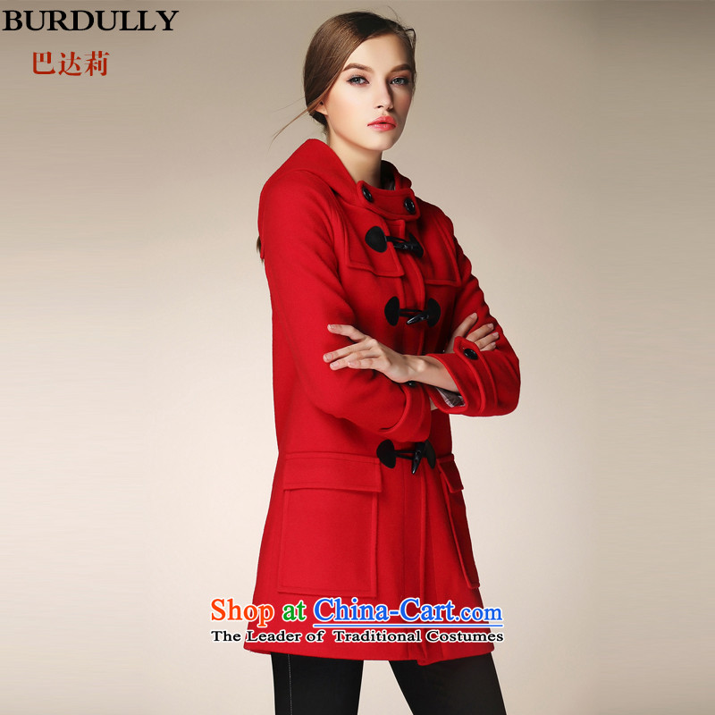 Cap the horns deduction BURDULLY woolen coats in women? long loose larger gross red jacket? L