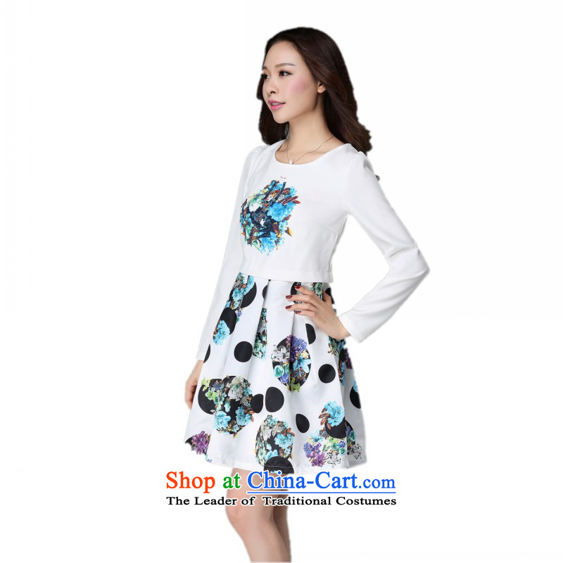 The obesity mm2015 autumn and winter load new knitting stitching upscale dresses western temperament xl stamp lady skirt OL temperament long-sleeved skirt聽around 170-190 microseconds catty about 4XL White
