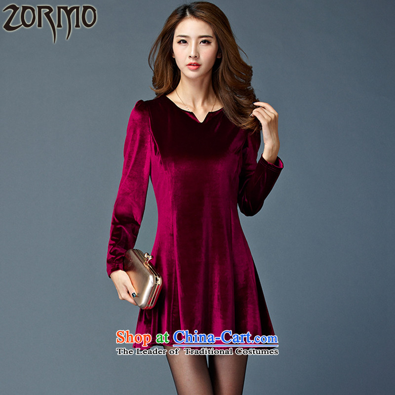 The new winter 2015 ZORMO mill gross large Ms. thickened the skirt thick mm autumn and winter, forming the velvet short skirts wine red燲XL 130-145 catty