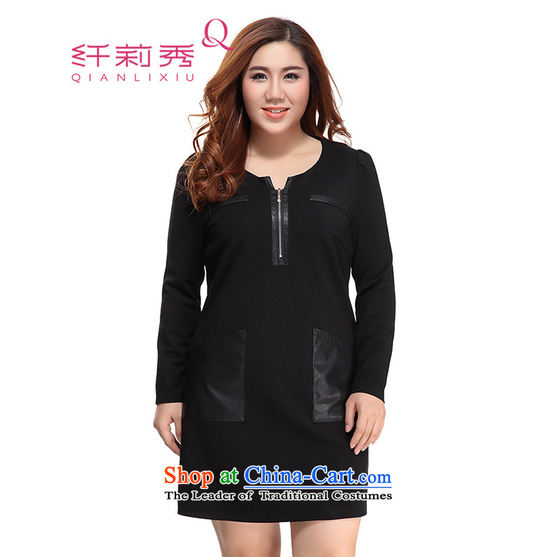 The former Yugoslavia Li Sau 2015 Fall_Winter Collections new larger female stylish leather round-neck collar video puzzle thin solid long-sleeved dresses�L 0198 Black