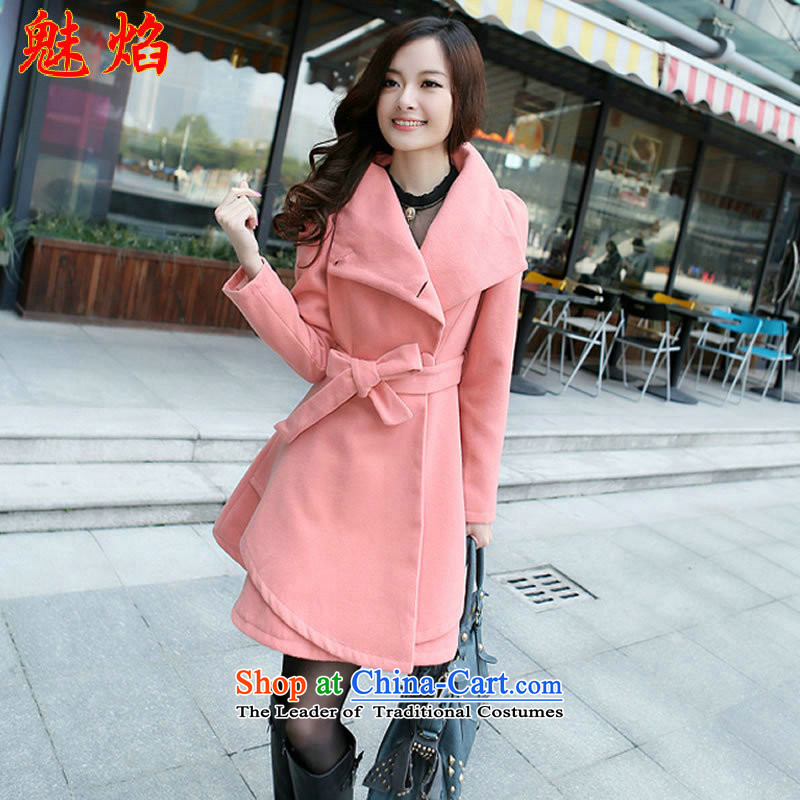 Flame of 2015 autumn and winter new stylish large roll collar waves Sau San petticoats. Long hair? coats wind jacket pink XL