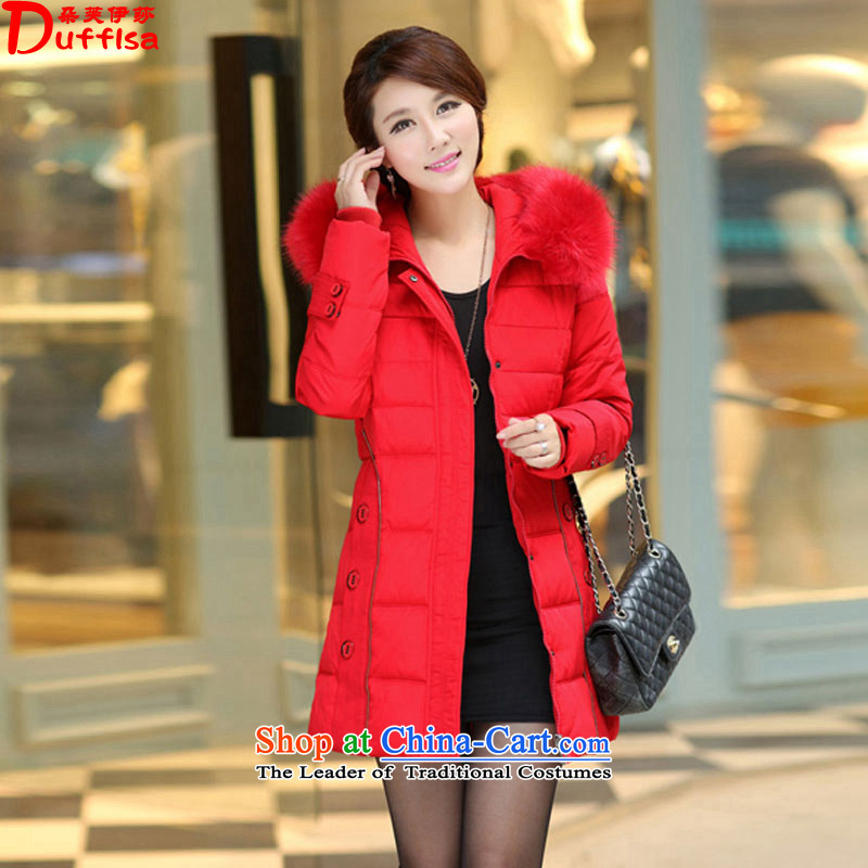Flower to Isabelle thick mm to increase women's code in long thick with cap on the Nagymaros collar down jacket D2102 female red�L