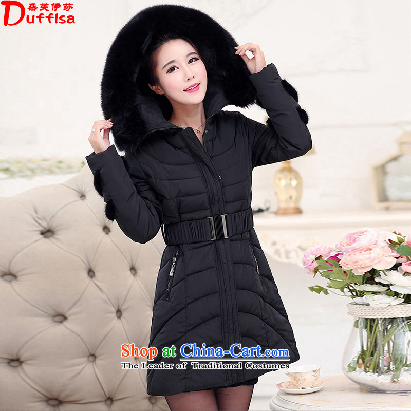 Flower to Isabelle winter new mm thick larger female Korean long in Sau San with cap on the Nagymaros collar thick down jacket D2103 female black 5XL