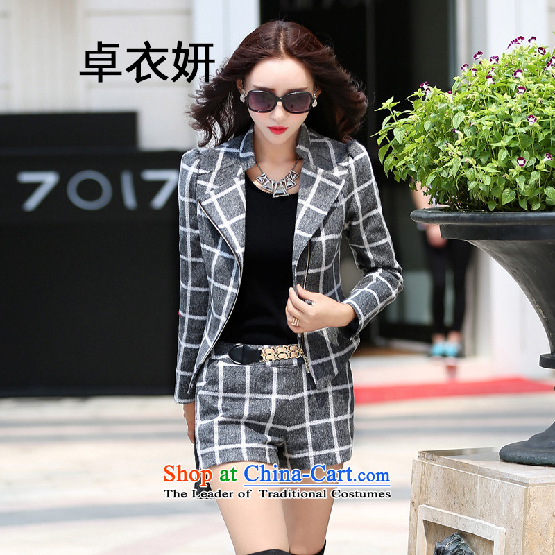 The new Korean autumn 1464_2015 version temperament and stylish Sau San Kit gray shorts燤