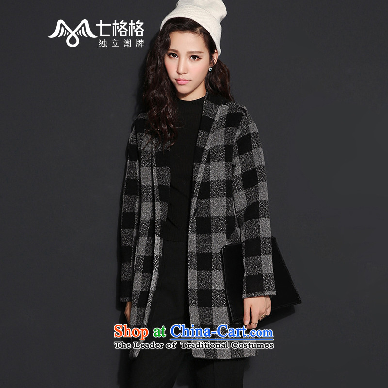 The interpolator 7 V-neck hair? 2015 winter coats of Gray Tartan jacket new female gray S