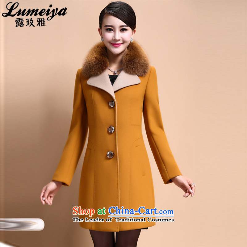 Receive ya 2015 autumn and winter new cashmere overcoat, long, but the fox washable wool coat is gross 6080 Yellow M