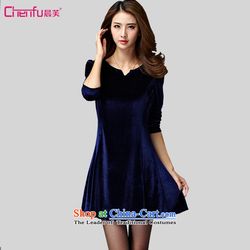 Morning to 2015 autumn and winter large new women's noble thick warm soft velvet dresses trendy and comfortable long-sleeved blue skirt聽4XL聽RECOMMENDATIONS 150 - 160131 catty