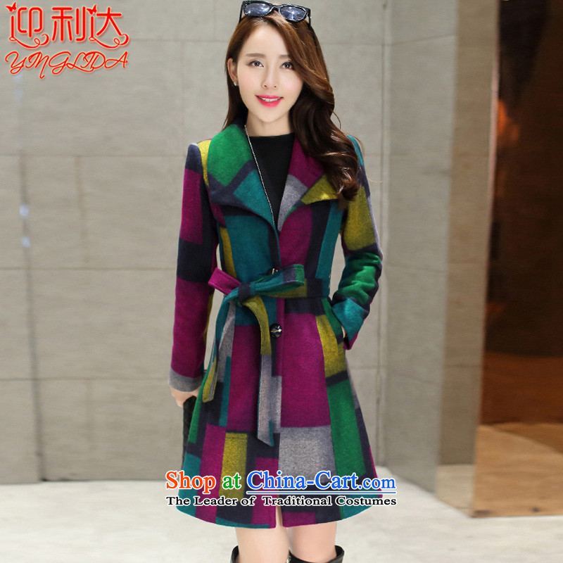 Welcome to the 2015 autumn and winter new stylish color grid in the plane collision Sau San long_? sub jacket coat women? gross blue patterned M
