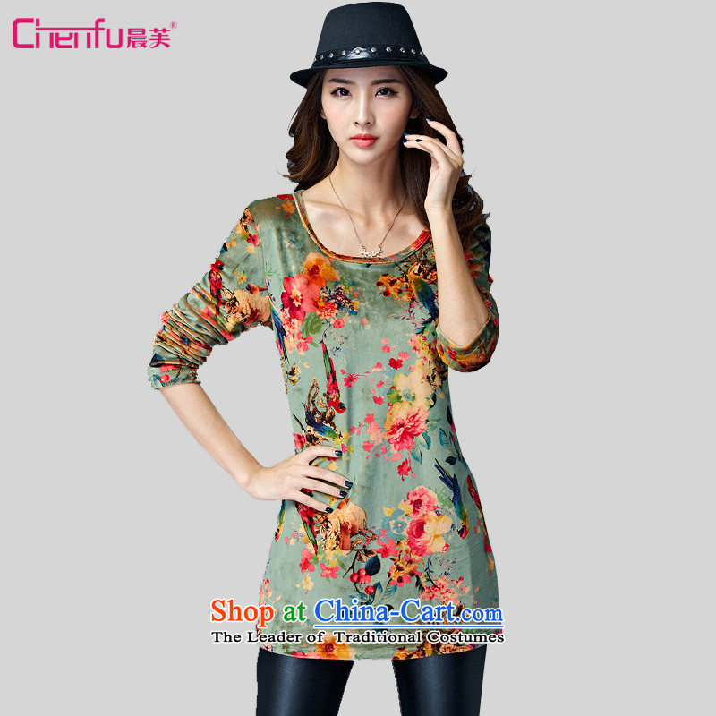 Morning to 2015 autumn and winter large female great national stamp high pop-soft velvet forming the Netherlands round-neck collar stylish long-sleeved top green stamp�L recommendations weighs 160-170 catty
