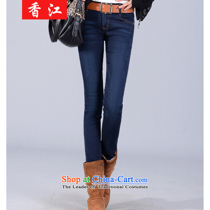 Xiang Jiang2015 large female thick sister castor jeans female 200 catties thick MM THIN plus lint-free video fall thick long pants2,122plus Stretch Wool, larger 3XL