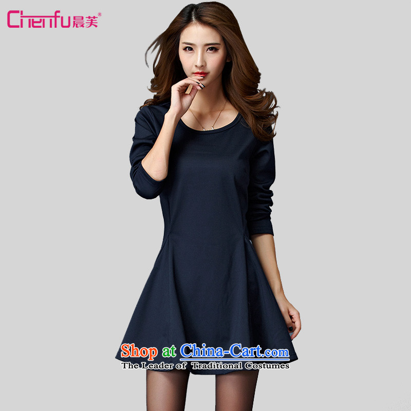 Morning to 2015 autumn and winter large female new Korean fashion plain color plus gross lint-free warm dresses cotton A Skirt Rome round-neck collar long-sleeved short skirt navy?4XL?RECOMMENDATIONS 150 - 160131 catty