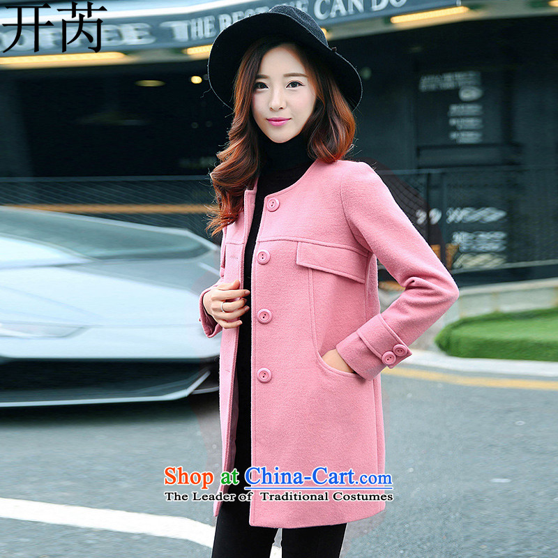 Open and then coat female 2015 gross autumn and winter New Women Korean fashion for coats K11316 so gross toner red color XL