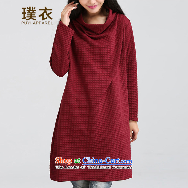�15 Autumn and winter clothing and equipment of the new arts heap heap for relaxd dress 1023 wine red燤
