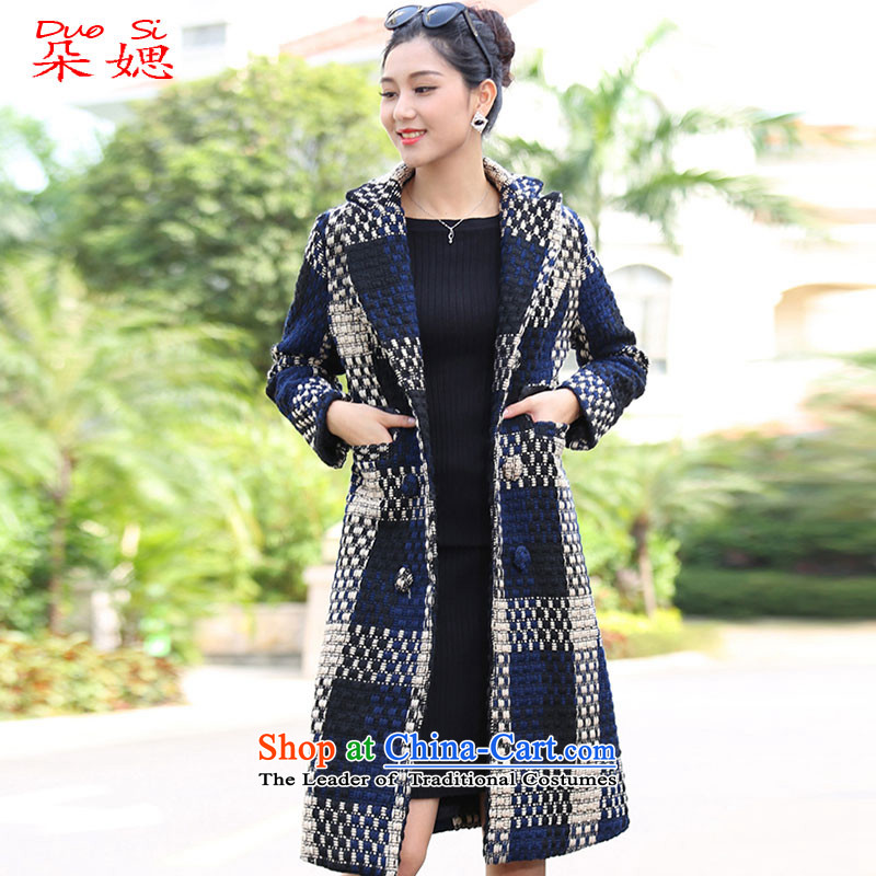2015 Autumn and winter flower ? new gross in long_? cotton waffle a gross jacket coat female blue is the color M