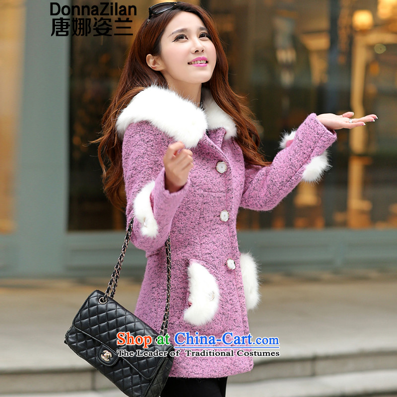 Gigi Lai Ho 2015 Donna winter clothing new coats even hat so Gross Gross female Korean jacket?   in long single row clip hair for a wool coat aubergine L code