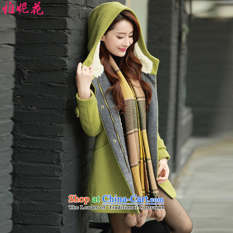 Ya Jennifer 2015 autumn and winter new Korean Sau San with cap plush coat jacket women gross?聽YNH2515聽Qiu Xiang Green聽, L, Nga Jennifer shopping on the Internet has been pressed.