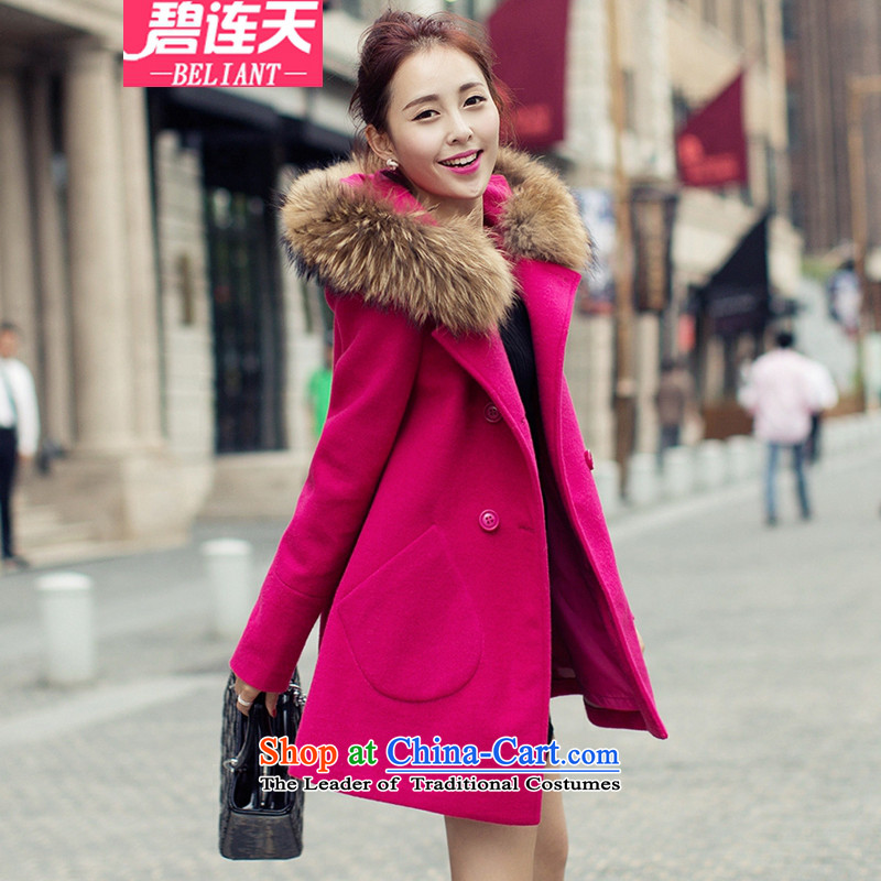 The angels in2015 autumn and winter Pik new gross female Korean jacket? In long hair Neck Jacket woolen coat wind clothes in red _gross_ for M