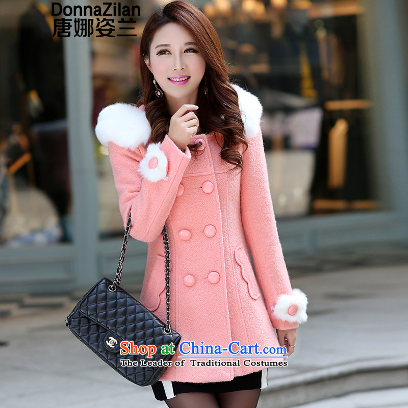 Gigi Lai Ho 2015 Donna new cap gross female winter coats that Korean video thin hair so Sau San coats female waves in long hair for a wool coat pink S