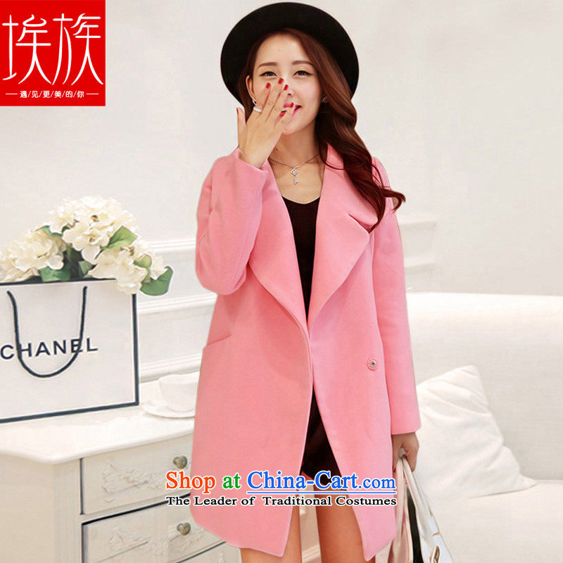 Egyptian wool coat women about what a wool coat Korean autumn and winter 2015. New Long pink S