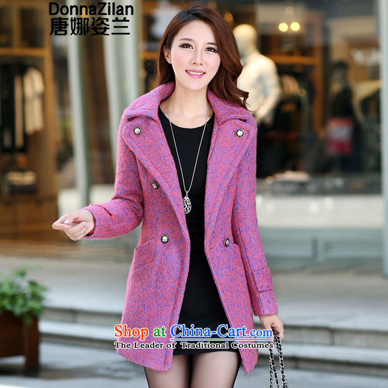 Gigi Lai Ho Gross Donna girls jacket? Long 2015 Fall_Winter Collections new Korean Sau San for winter temperament, double-v-neck hair a wool coat jacket aubergine燬