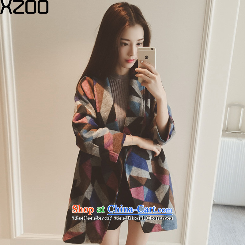 Wool coat women XZOO? Korean cashmere overcoat, long winter 2015 new map color S