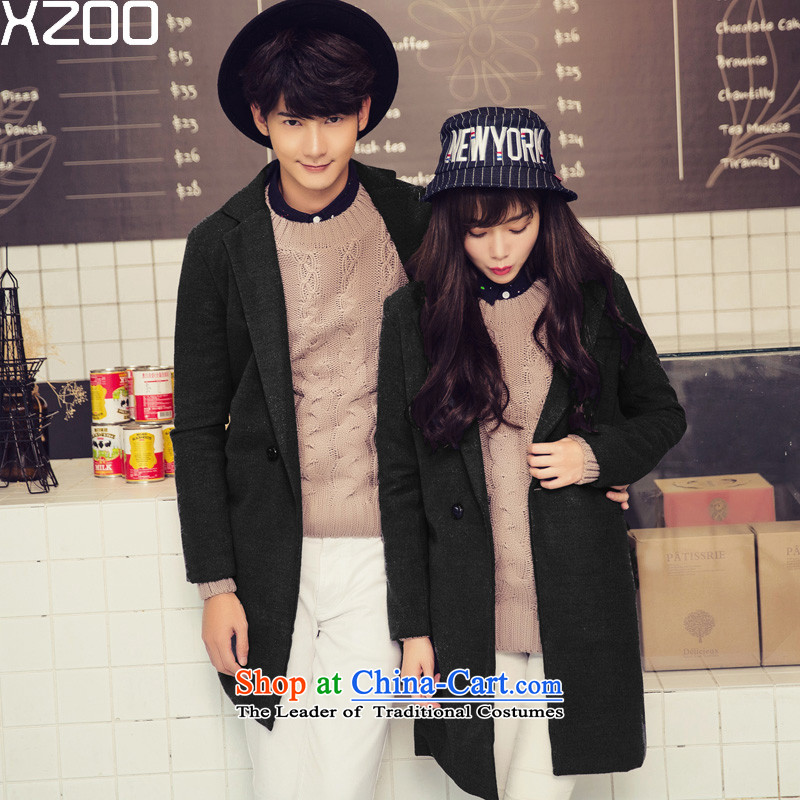Gross? jacket XZOO2015 female to male Korean couples with coats of ladies? autumn and winter new black S