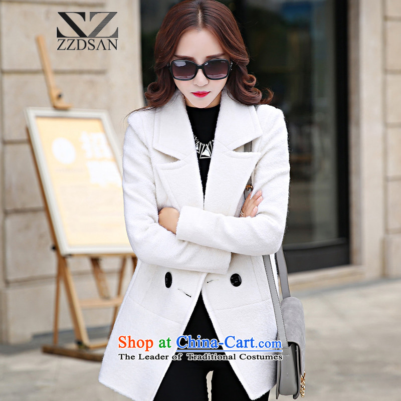 Up to�15, the Netherlands New Korean version of autumn and winter is elegant and modern solid color graphics thin single rank Sau San tie gross jacket coat women? White燣
