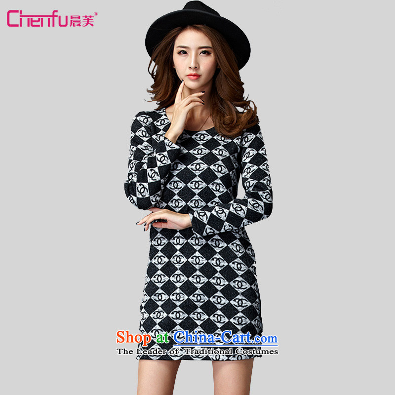 Morning to 2015 autumn and winter new Korean version of large numbers of ladies' knitted dresses and stylish latticed long-sleeved warm of dresses, forming the long sleeved clothes picture color�L燫ECOMMENDATIONS 150 - 160131 catty