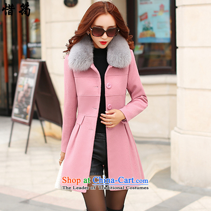 Deplores Teresa Mo�15 winter clothing new products Korean female decorated gross? coat in the body of this jacket coat X0639 pink燲XL