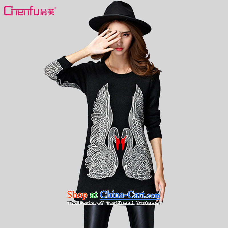 Morning to 2015 autumn and winter new larger lady knitted T-shirt with round collar long sleeves wear warm Korean forming the swan shirt black velvet聽4XL聽RECOMMENDATIONS 150 - 160131 catty