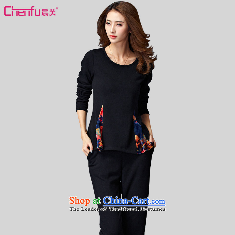 Morning to 2015 autumn and winter large female new Korean Sau San plus lint-free thick warm kit round-neck collar Foutune of not forming the T-shirt, lint-free cleaning two piece black�L recommendations 140-150catty