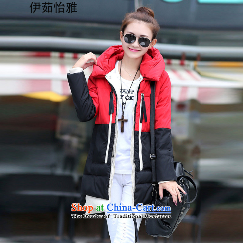 El-ju Yee Nga 2015 winter clothing in long version 200 jin won thick MM to xl female 5XL stitching large YZ5088 DOWNCOAT red and black stitching emulation XXXXXL gross collar