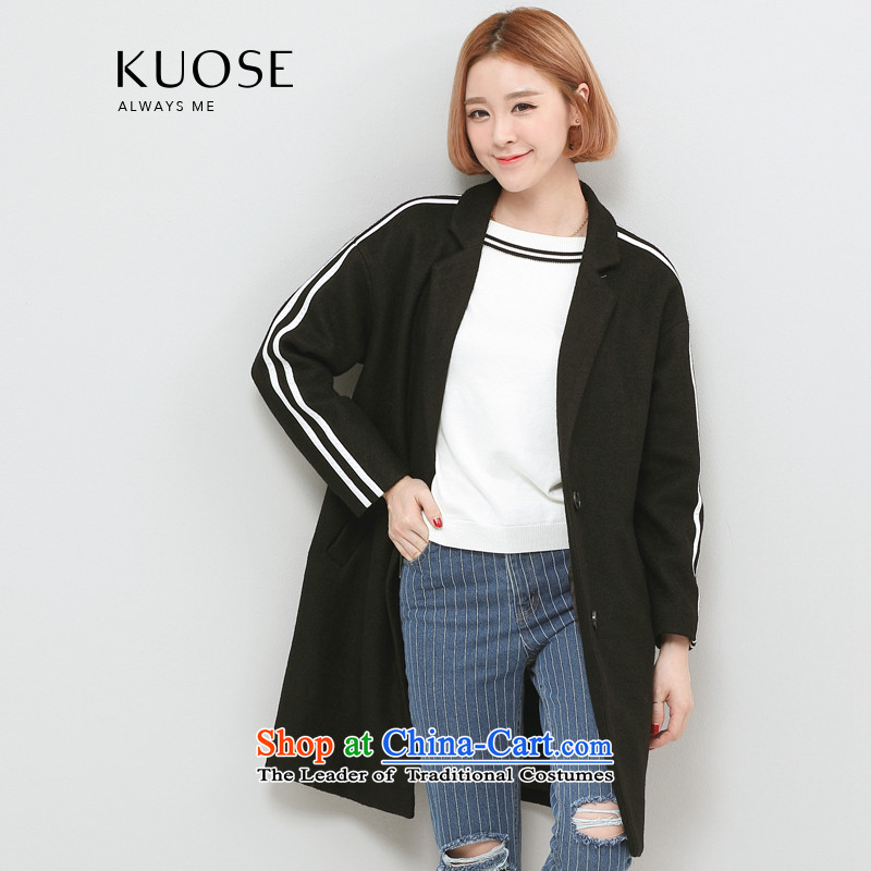 Wide Color Gamut 2015 autumn and winter new Korean female loose collar workers in thick suits long coats gross_?? jacket blackM