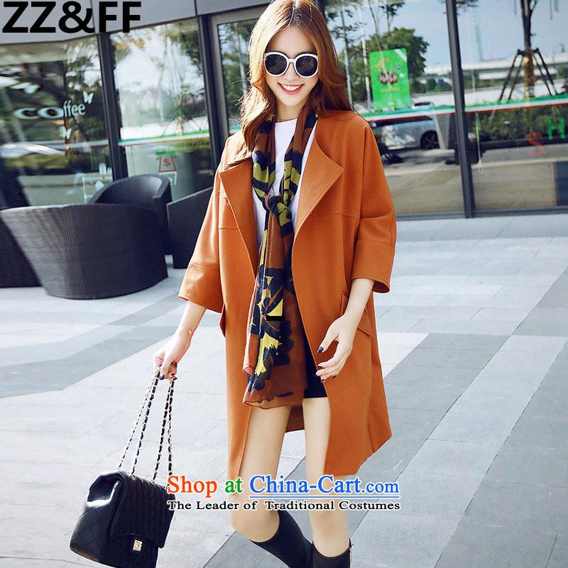 聽聽In the long graphics Zz_ff thin female Wind Jacket coat of autumn large orange聽XXL