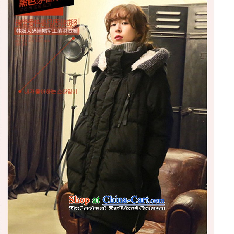2015 winter clothing new Korean version of large numbers of ladies thick MM loose, Hin thin, thick cotton winter in sister thick long thick Korean cap down jacket Black聽XL