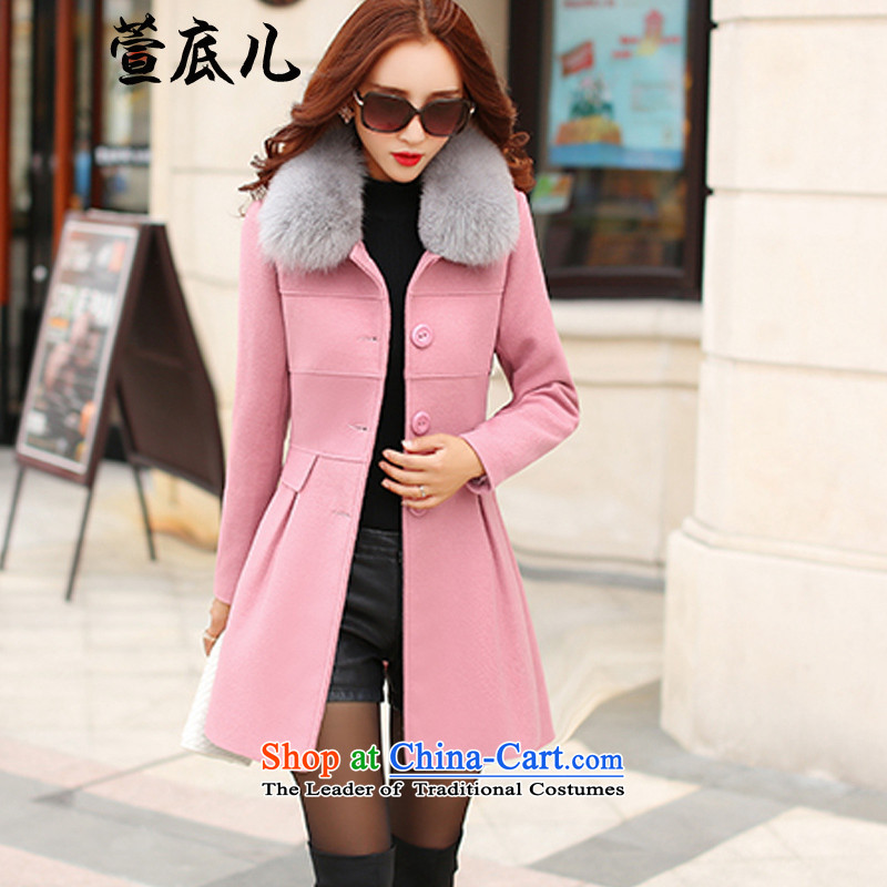 Mavis Fan bottom 2015 Fall_Winter Collections female new graphics in the thin long Sau San, a wool coat long-sleeved jacket pink L gross?
