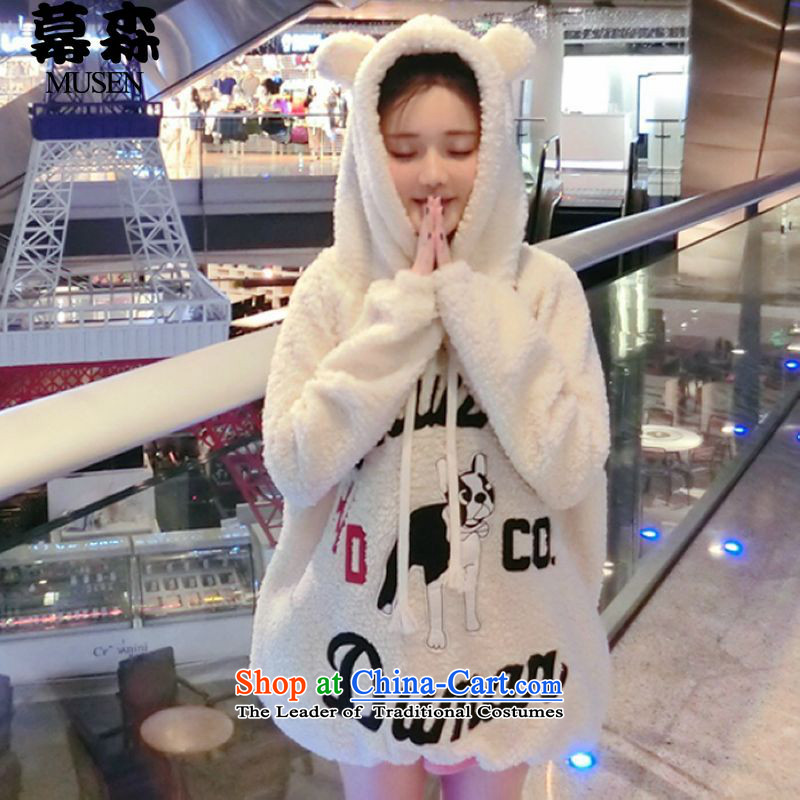 The  2015 autumn and winter sum Korean women xl relaxd casual cartoon thick MM200 catty lamb maoulen cap sweater XXXL White