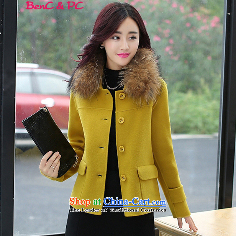 2015 winter coats coats gross? New Women Korean Modern graphics thin long-sleeved thickened Sau San wild with collar short of grass, Huang gross collar XXL