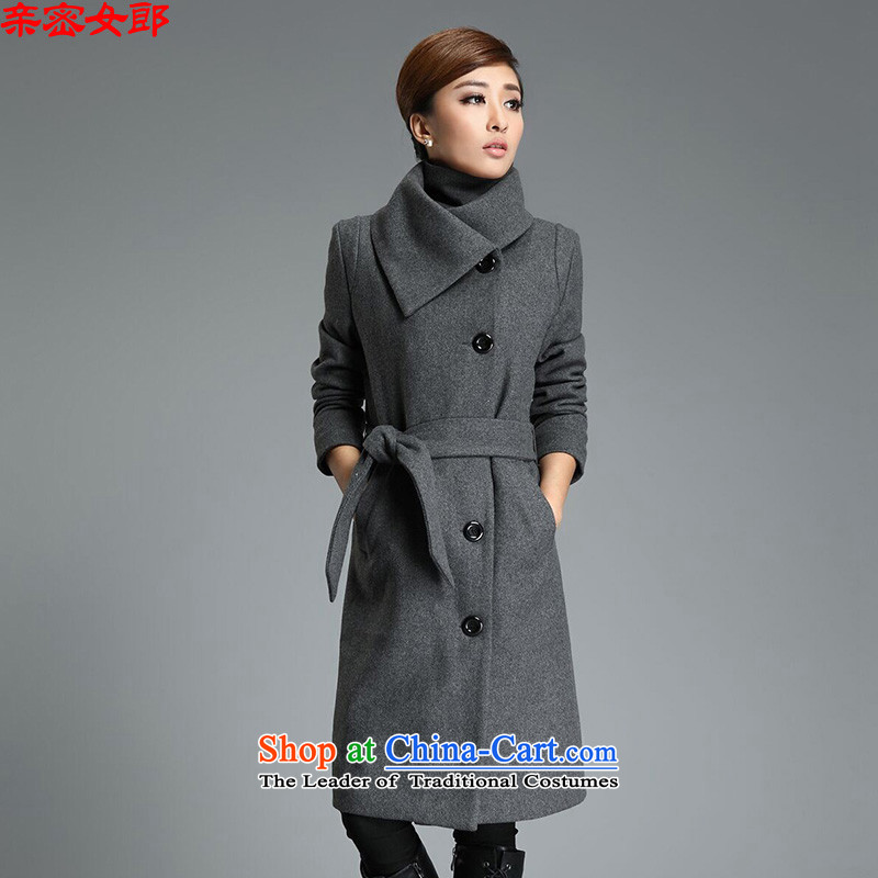 Dear Girl 2015 Fall/Winter Collections new larger gross?   Graphics thin coat girl in temperament long coats of female JXYL1111? M Gray