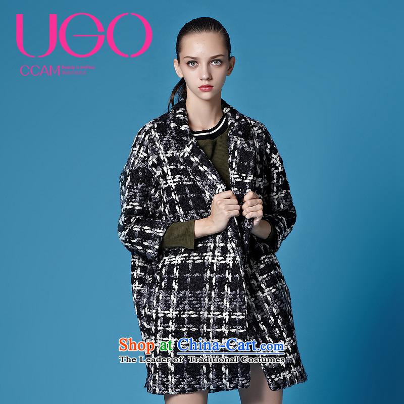 Ugoccam2015 autumn and winter new retro streaks 7 cuff gross? female coats blackM