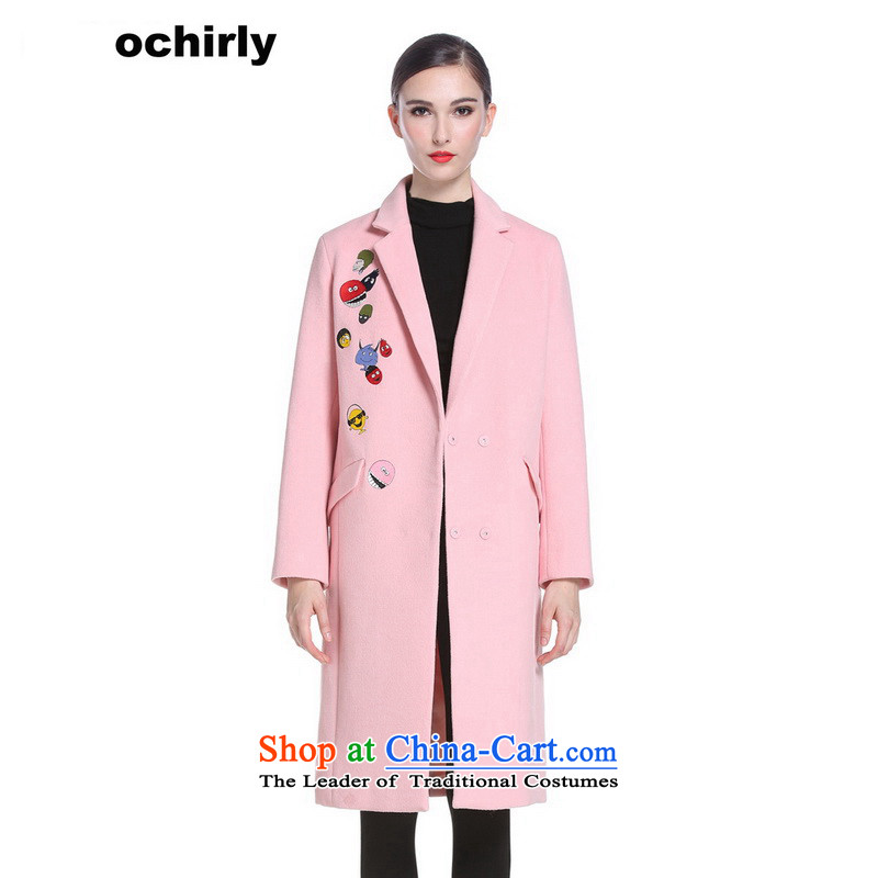 The new Europe, ochirly female winter clothing embroidery cartoon long-suit the auricle jacket 1144344240 gross? pink M_165_88a_ 180