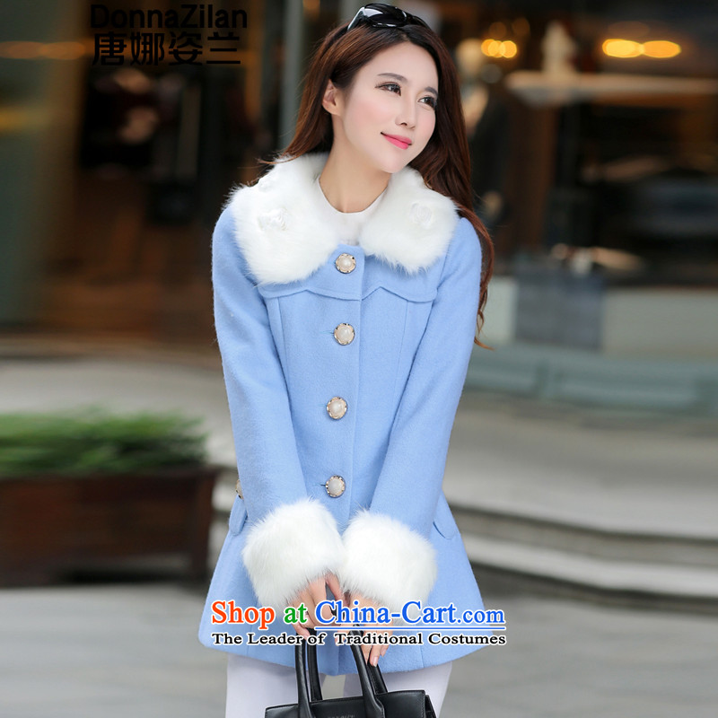 Gigi Lai Ho 2015 Donna stylish quality Gross Gross for coats Women Korea?   Single Row deduction version? jacket in gross long sweet wool a wool coat light blue XL